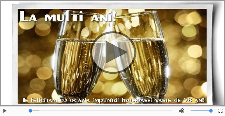 Felicitari muzicale Pentru 58 ani - 58 ani, La multi ani cu sanatate!