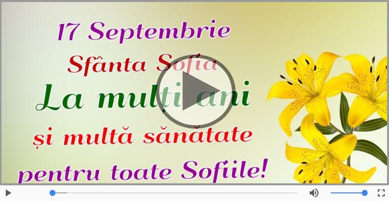 Felicitari muzicale de Sfânta Sofia - Felicitare animată de Sfânta Sofia